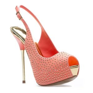 Coral And Gold Studded Platform Heels